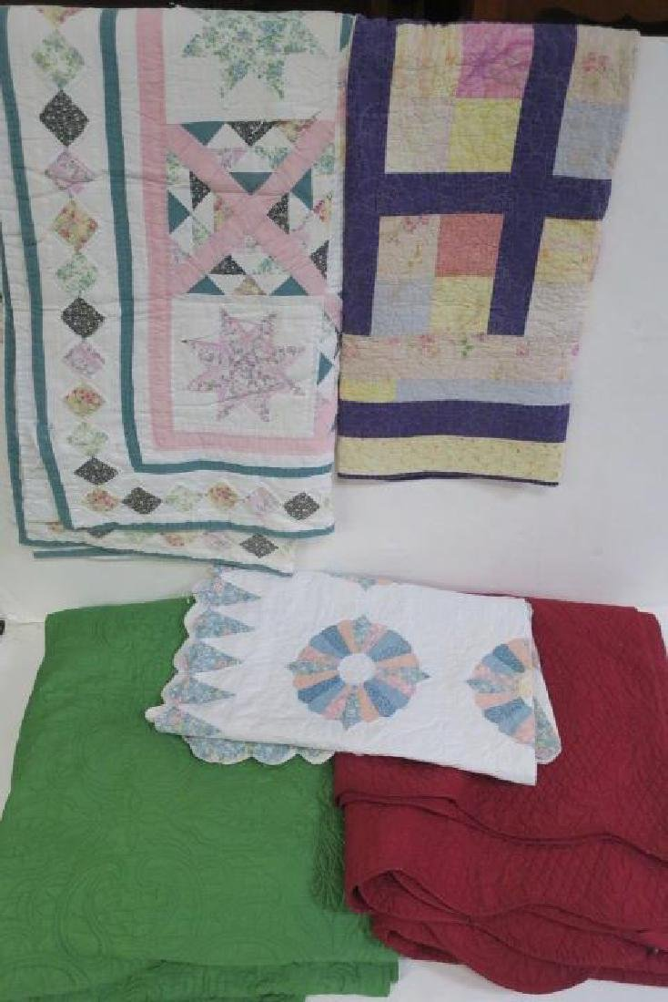 Lot of 5 Various size Vintage Quilts:
