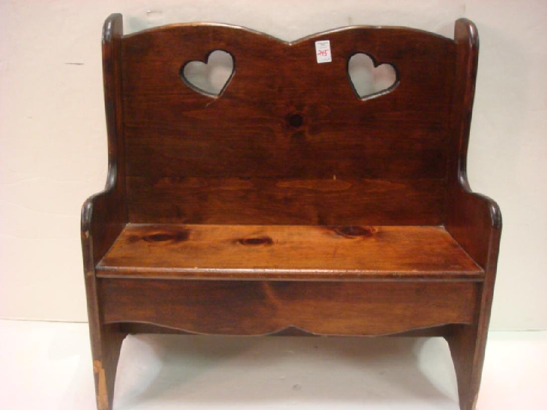 Child's Country Pine Bench with Heart Cutouts: