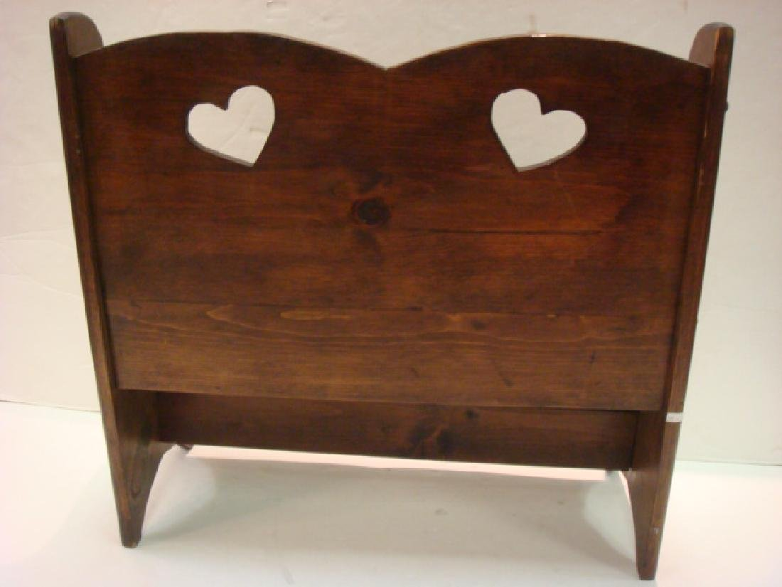 Child's Country Pine Bench with Heart Cutouts: - 3