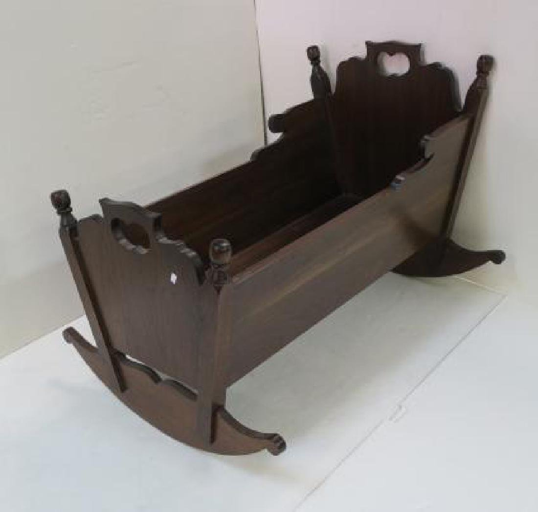 Vintage Hand Made Solid Walnut Rocking Baby Cradle: