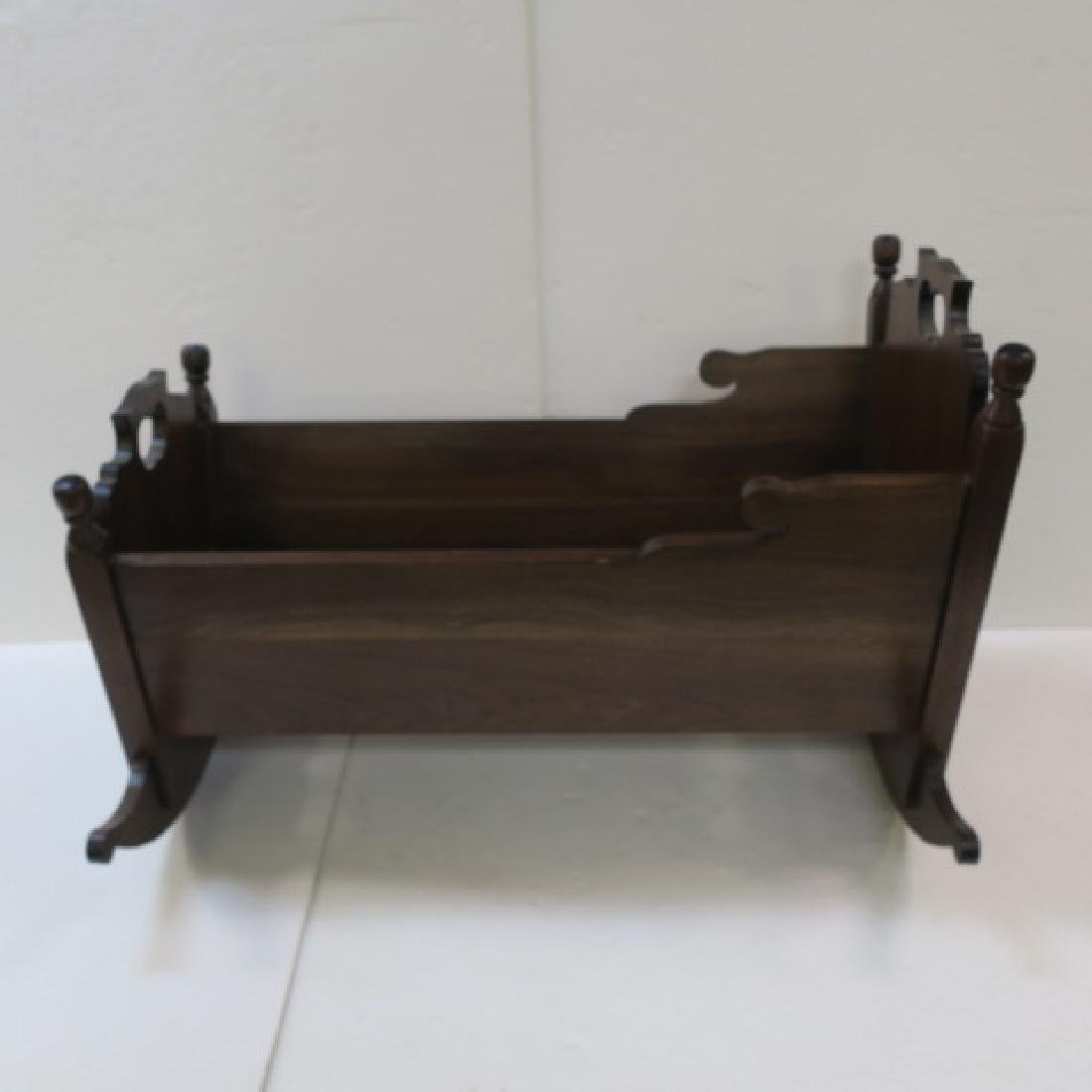 Vintage Hand Made Solid Walnut Rocking Baby Cradle: - 2