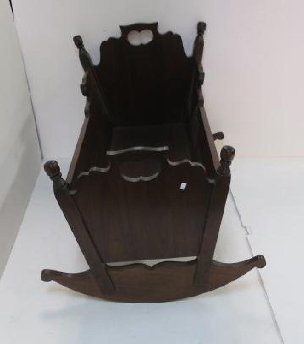 Vintage Hand Made Solid Walnut Rocking Baby Cradle: - 4