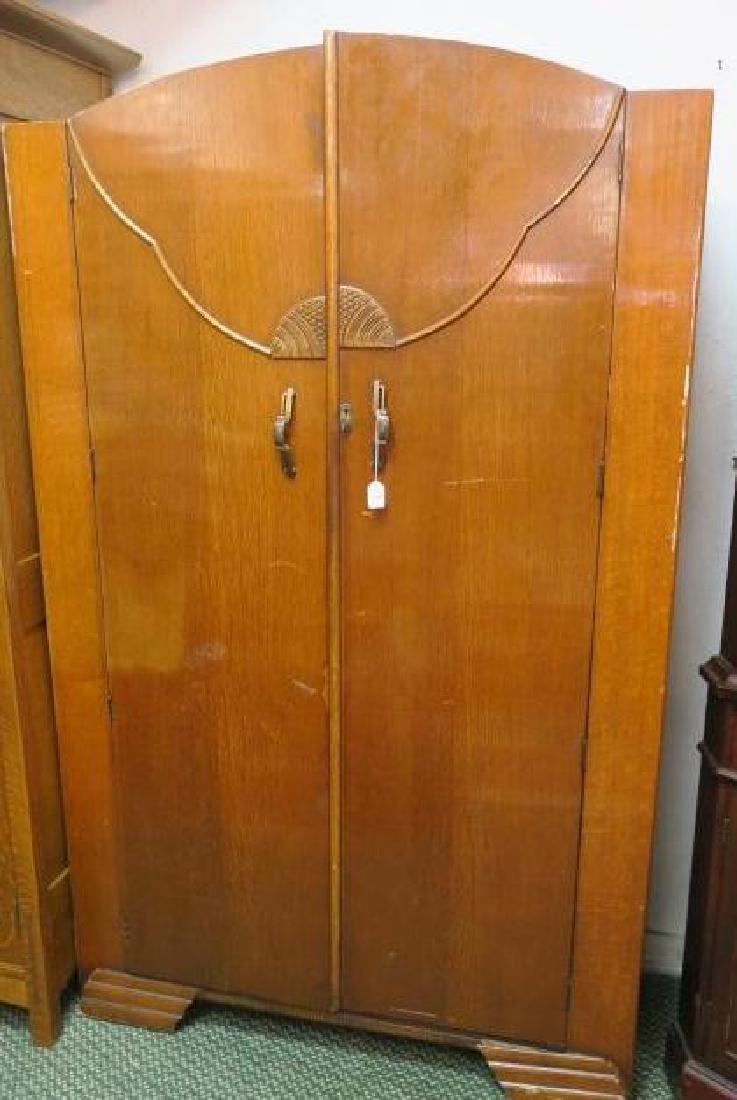 English Deco Period Double Door Armoire: