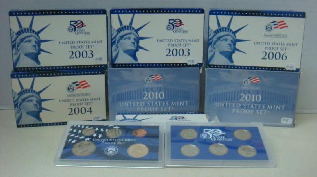 SEVEN US MINT PROOF SETS; 2002S-2004S, 2006 2010