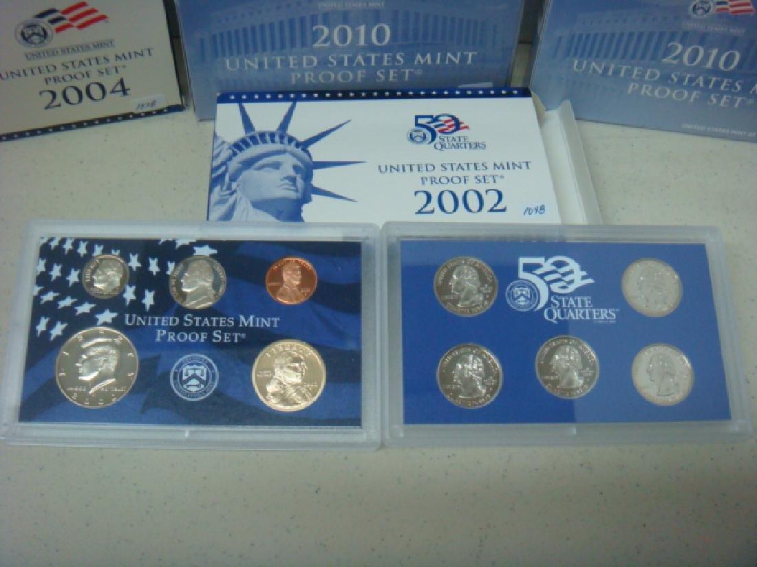 SEVEN US MINT PROOF SETS; 2002S-2004S, 2006 2010 - 2