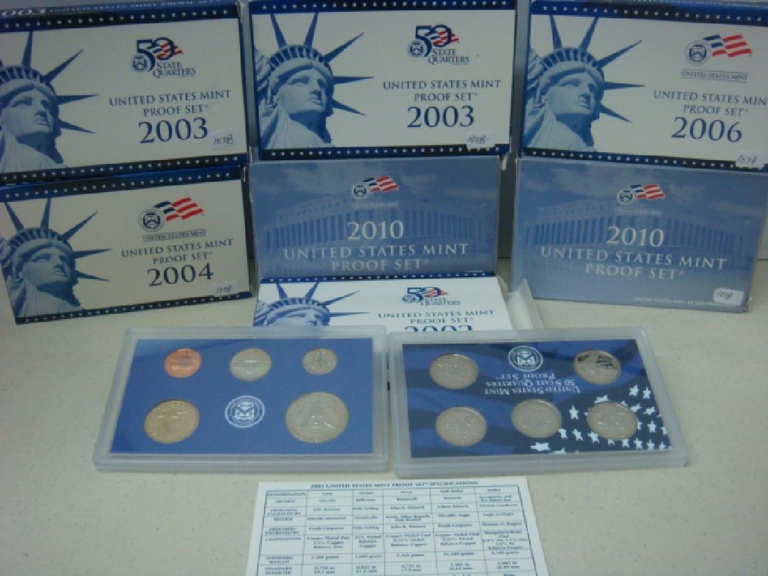 SEVEN US MINT PROOF SETS; 2002S-2004S, 2006 2010 - 3