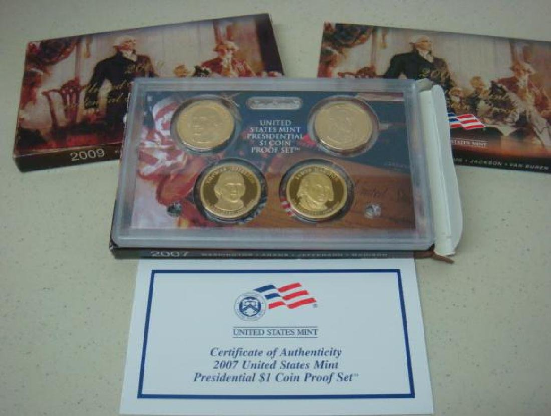 2007-2009 US MINT PRESIDENTIAL $1 COIN PROOF SETS (3):