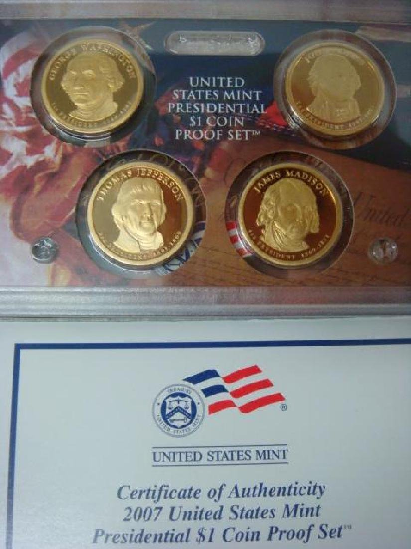 2007-2009 US MINT PRESIDENTIAL $1 COIN PROOF SETS (3): - 2