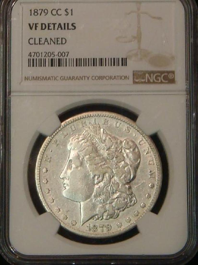 1879 CC MORGAN SILVER DOLLAR, VF Details NGC Graded: