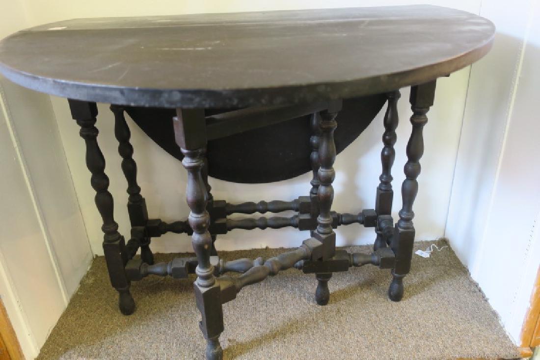 Antique English Dark Walnut Gate Leg Table: