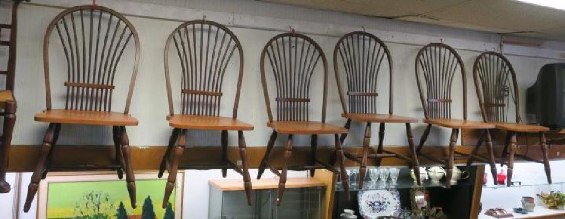Six CANADEL Braced Spindle Fan Back Dining Chairs: