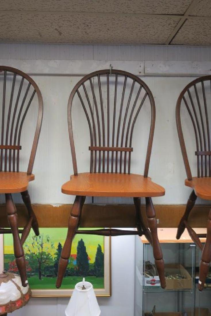 Six CANADEL Braced Spindle Fan Back Dining Chairs: - 2