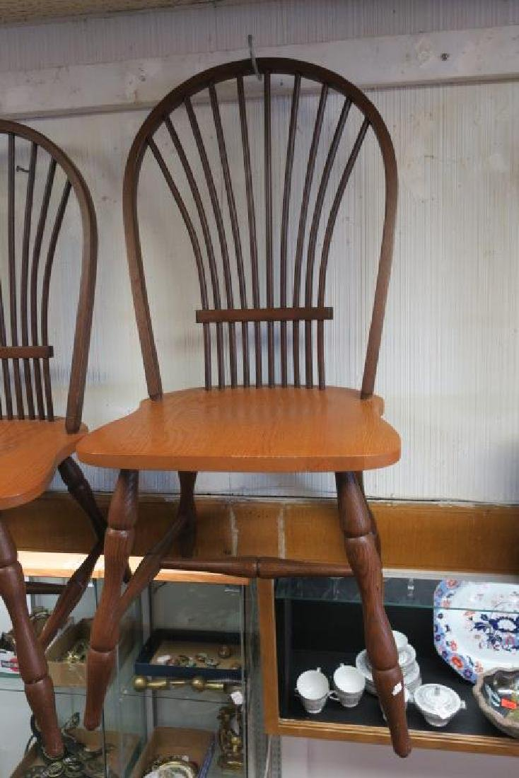 Six CANADEL Braced Spindle Fan Back Dining Chairs: - 4