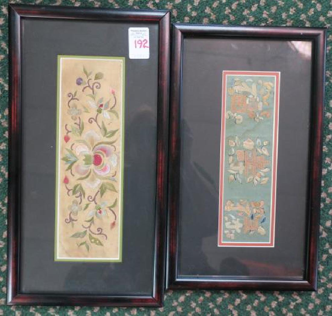 Two Framed Hand Stitched on Silk Chinese Cuffs: