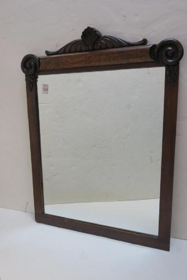 Vintage Oak Frame Plate Glass Mirror: