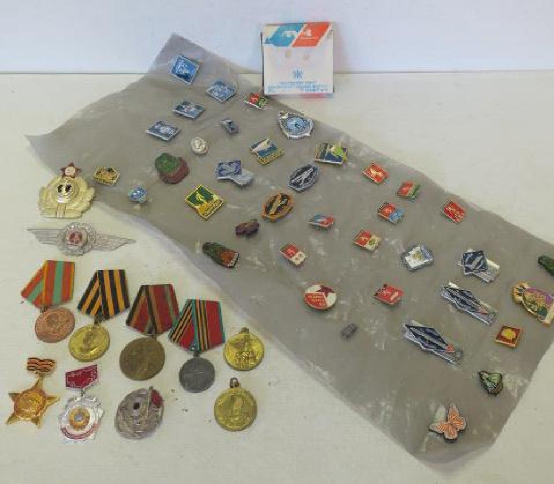 Collection of Russian Pins, Medals & Hat Brass,