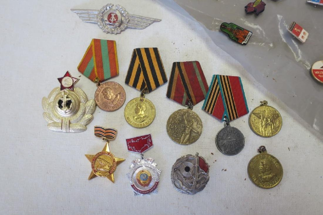 Collection of Russian Pins, Medals & Hat Brass, - 2