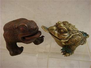 Bronze and Clay Feng Shui Money Frogs: