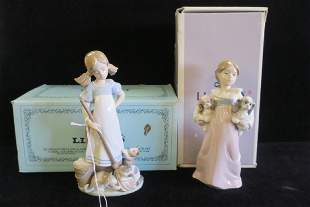 Two LLADRO Girls with Pets Figurines