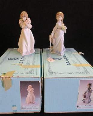 Two LLADRO Girls with Flowers