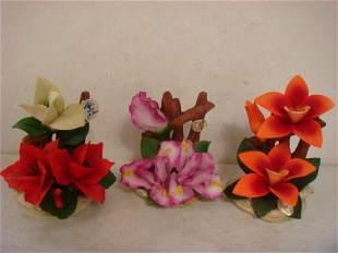 Three Capo di monte Porcelain Flower Groups