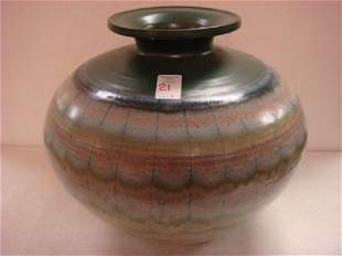 Large Signed Contemporary Art Pottery Vase