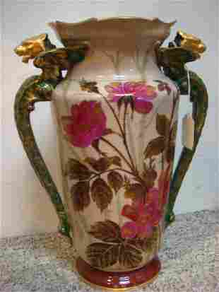 19th C Tall Double Handled Hand Painted Vase