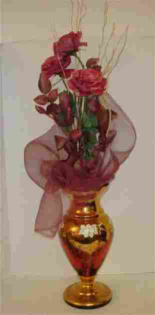 Italian Cranberry Glass Vase with Enamel Flowers