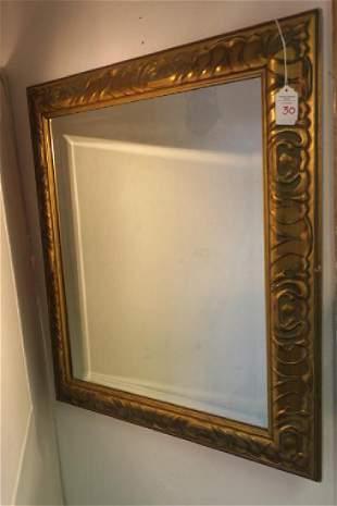 Gold Framed Beveled Wall Mirror