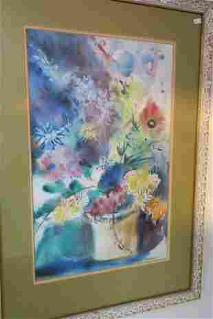 BETTY ANGLIN Vibrant Watercolor of Flowers