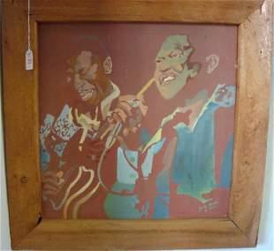 2 Jazz Musicians Acrylic On Canvas Jennifer Johnson
