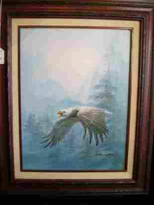 Eagle Oil On Canvas Signed C Benolt Charles