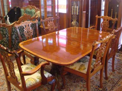 KITTINGER Federal Style Double Pedestal Dining Table Placeholder See Sold Price