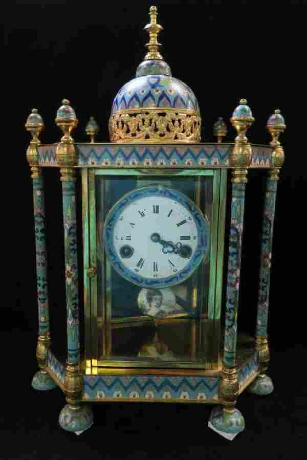 Chinese Cloisonné and Brass Domed Mantle Clock: