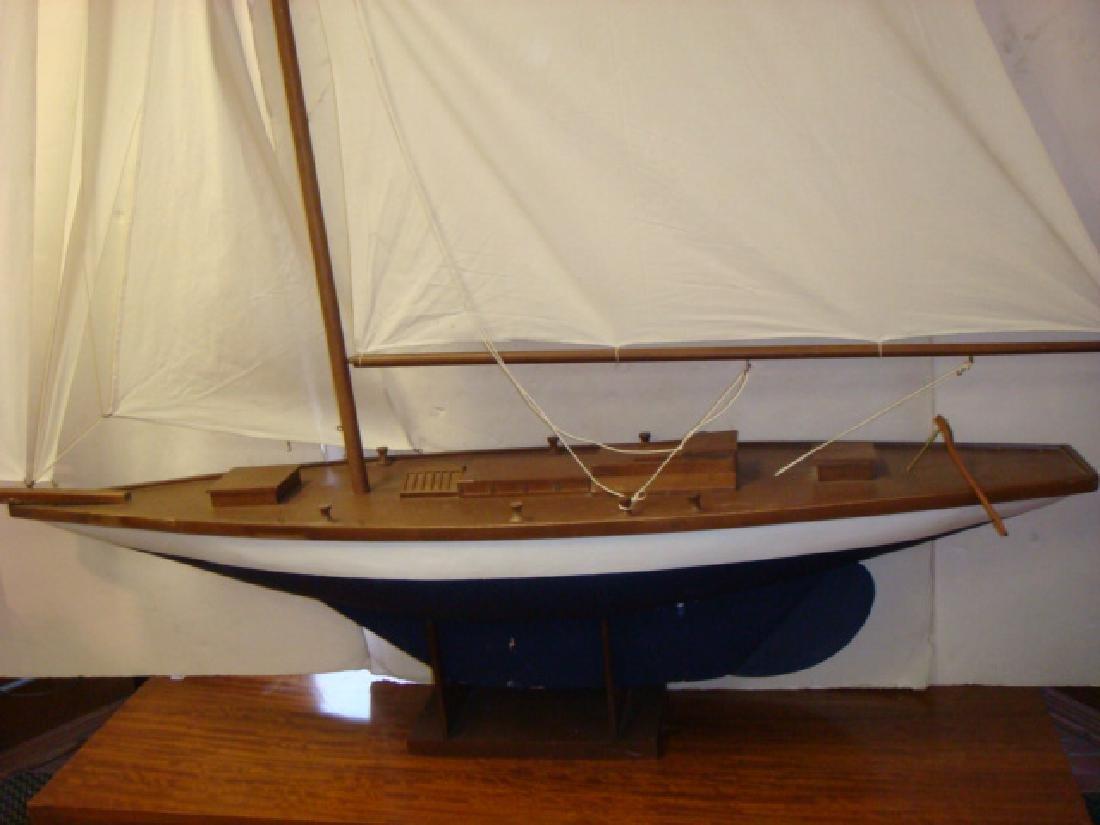HUGE Wooden Fully Rigged Sailing Sloop Model 8'+ Tall - 2