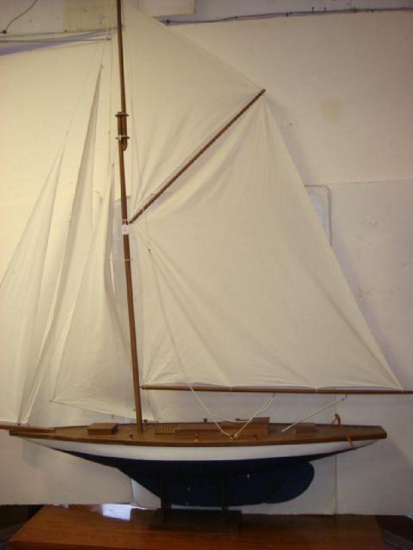 HUGE Wooden Fully Rigged Sailing Sloop Model 8'+ Tall - 4