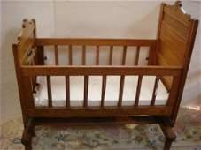 Golden Oak Swinging Baby Cradle CA. 1885: