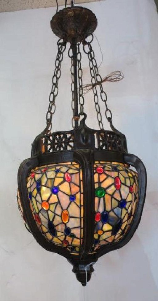 Stained Glass Pendant Light In Metal Frame Bulbous