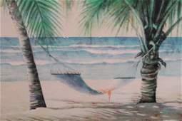 "Silkscreen/Oil on Canvas ""Hammock Between Palm Trees"":"