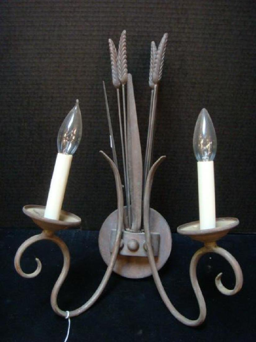 Pair of Metal Wheat Sheaf Electric Double Arm Sconces - 2