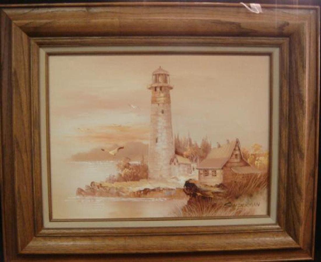 Lighthouse Oil on Canvas Signed SANDERMAN: