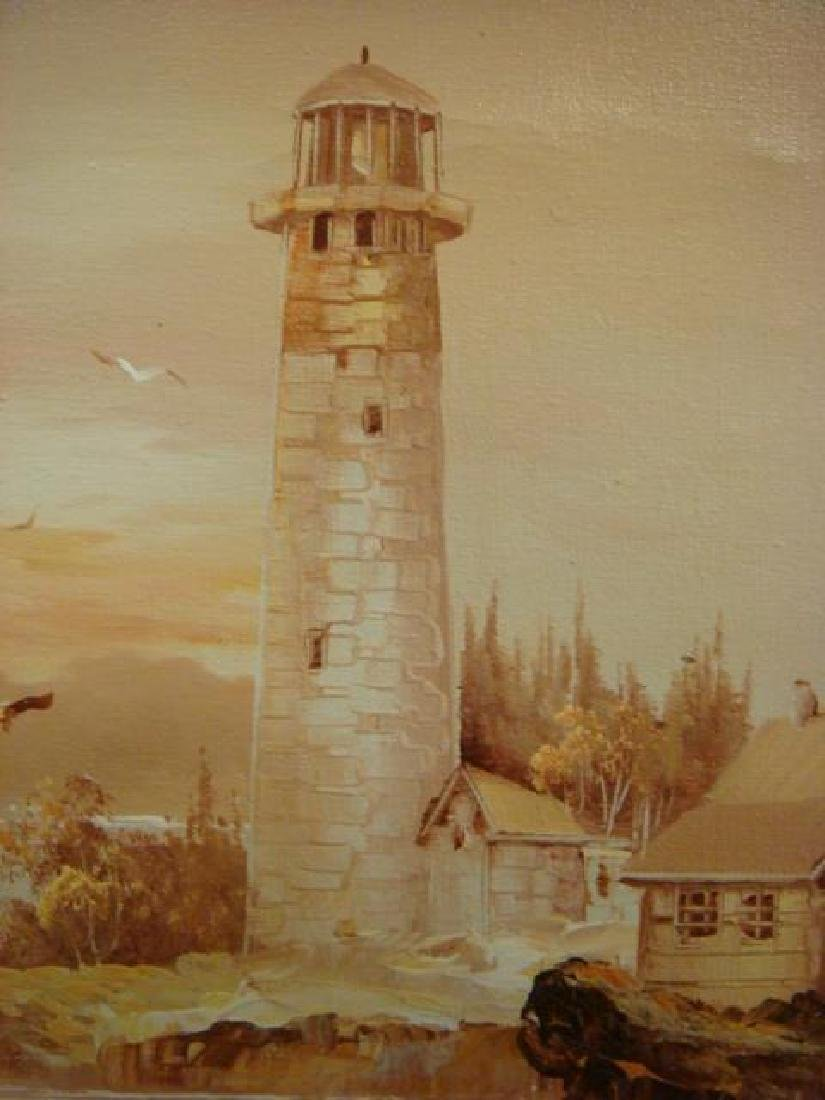 Lighthouse Oil on Canvas Signed SANDERMAN: - 2