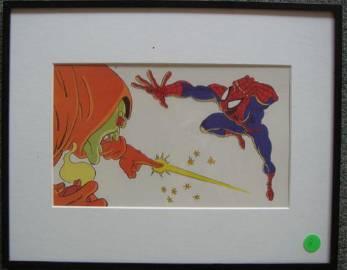 MARVEL Animation Cell; SPIDERMAN & HOBGOBLIN, Framed: