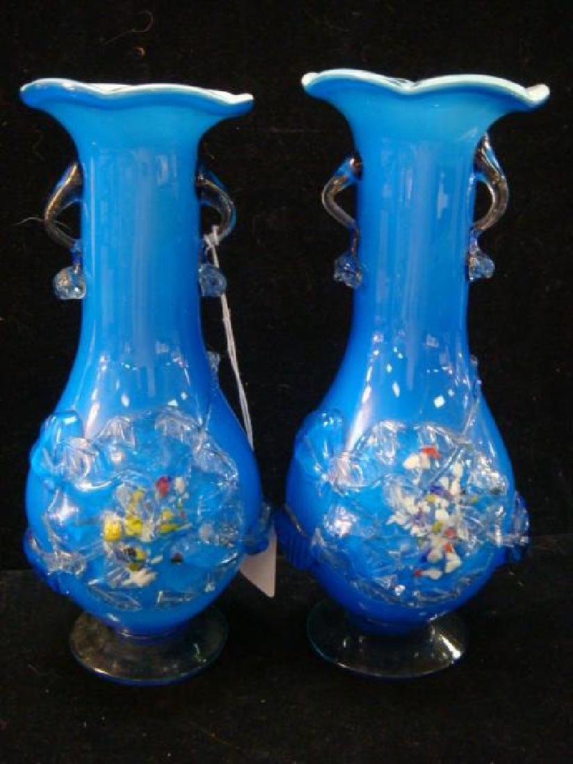 Pair of Murano Hand-blown Art Glass Vases: