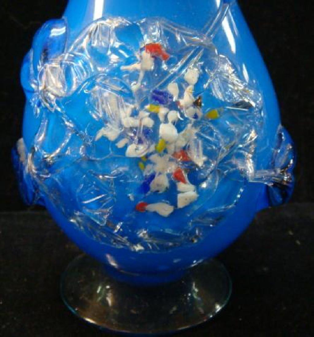 Pair of Murano Hand-blown Art Glass Vases: - 3