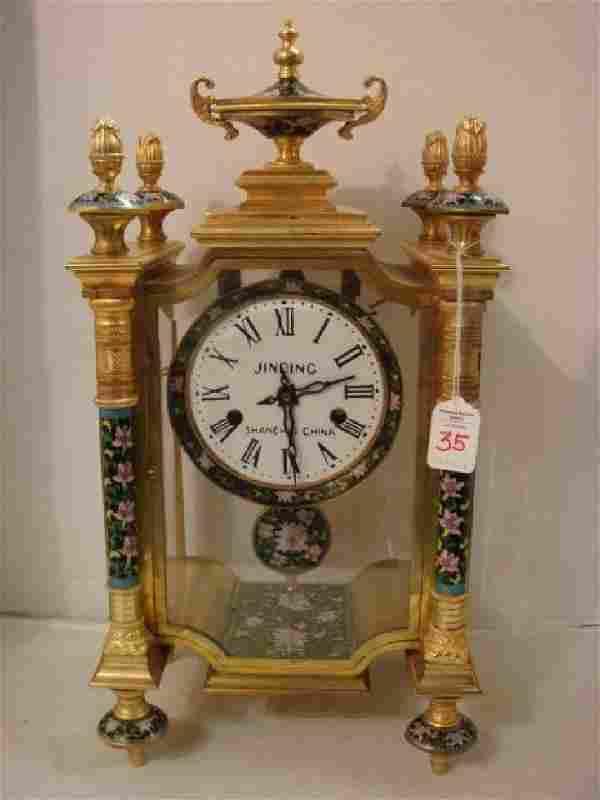 """Chinese Cloisonné Mantle Clock, 20""""T"""