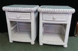 Pair of White Wicker Side Stands