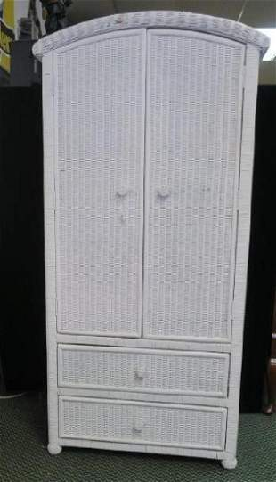White Wicker Tall DresserCabinet