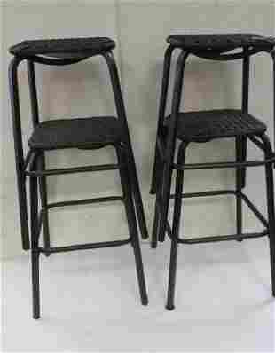 Set of Four Woven Dark Brown Stools