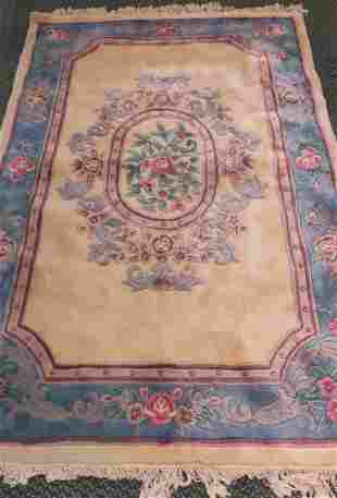100 Wool Chinese Sculpted Floral Rug
